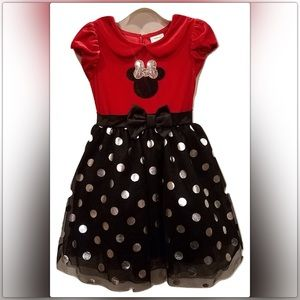Disney Mickey Mouse Girl Velvet W/ Tulle Dress Sz5